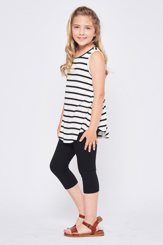 Girls/Junior Black Ivory Stripe Tank
