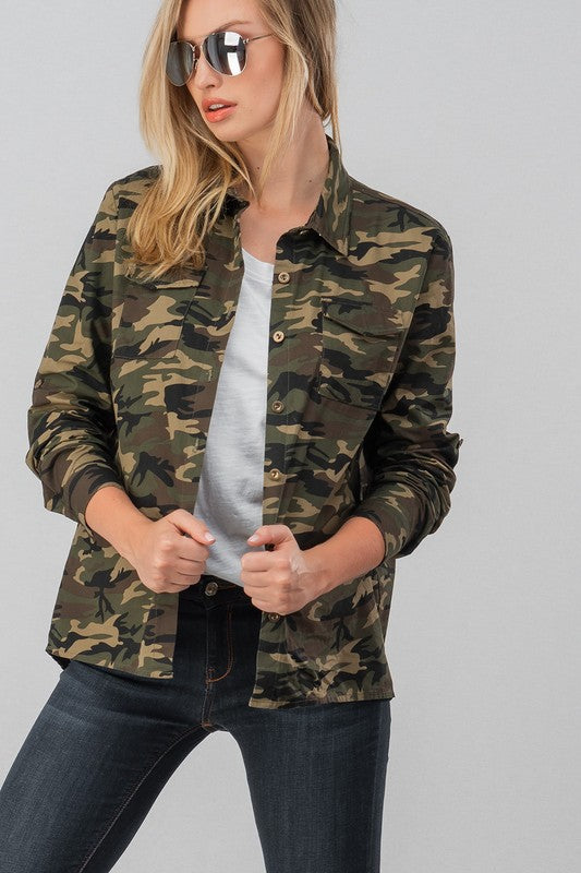 Camo Button Up