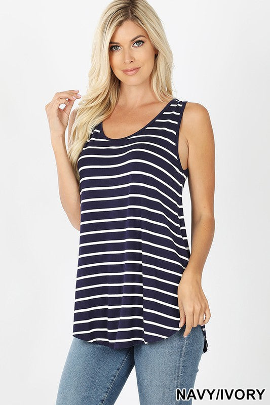 Curvy Striped Sleeveless Top(multiple colors)