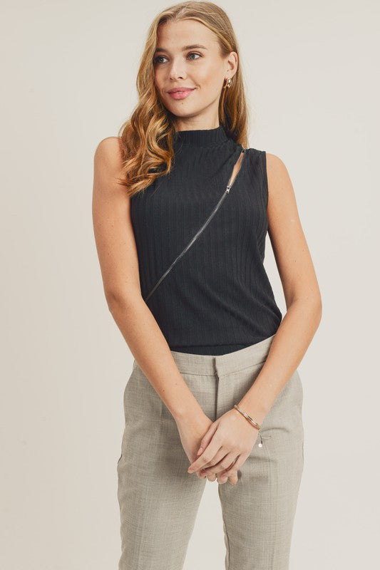 Diagonal Zip Top