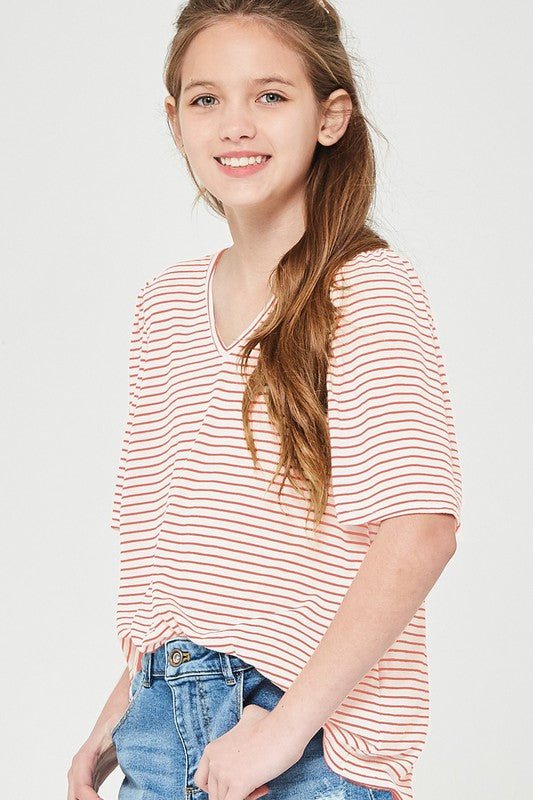 Pin Stripe Flare Top