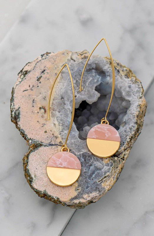 Stone Disc Earrings (3 colors)