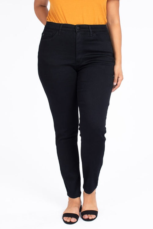 Black Mid Rise Super Skinnies Curvy