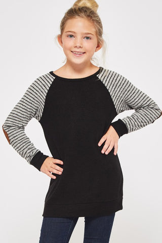 Girl Striped Raglan Top