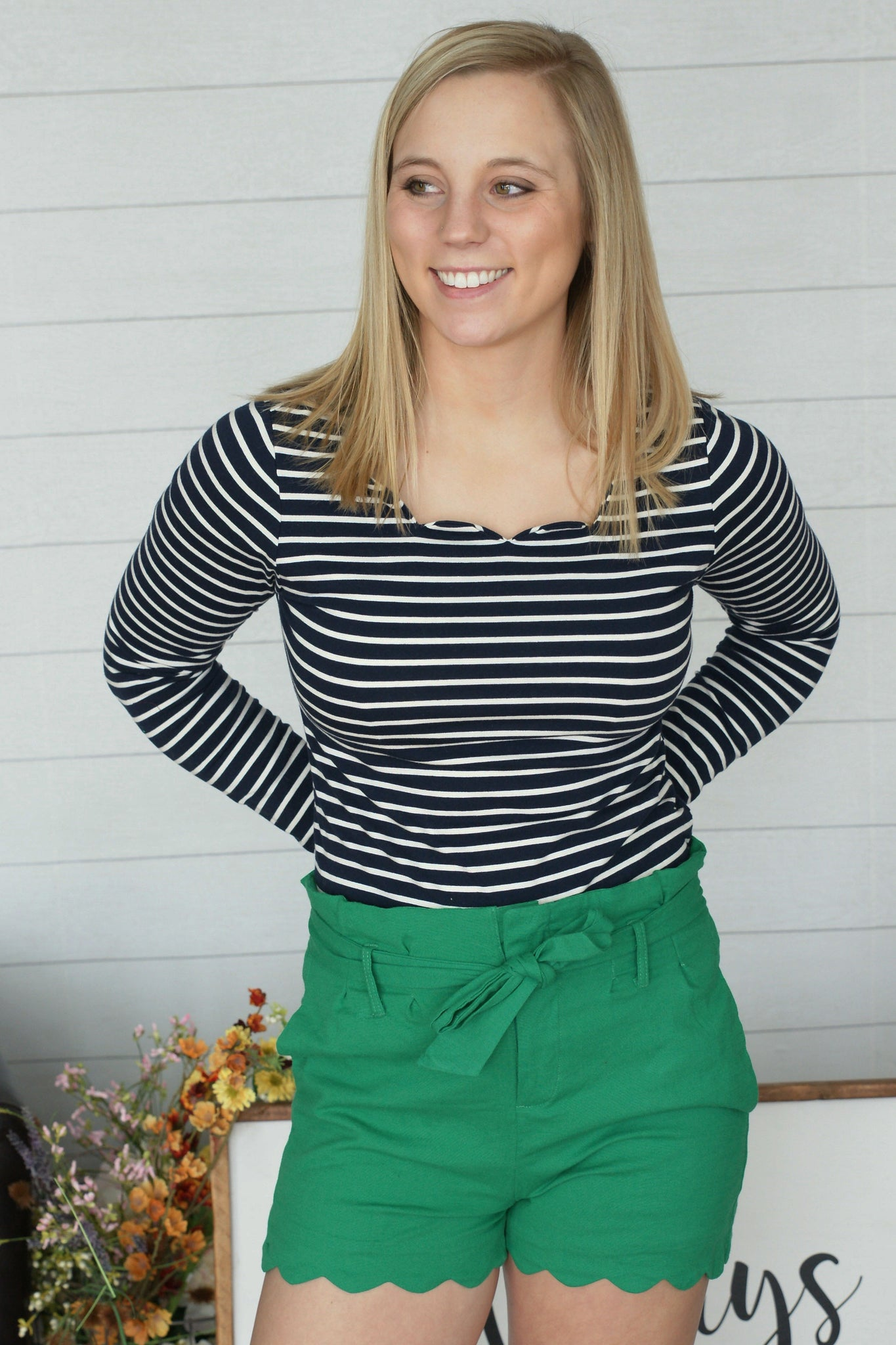 Scallop Striped Top