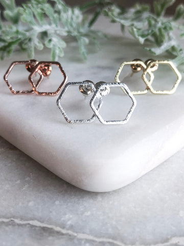 Honeycomb Stud Earrings - Mandy Ellen