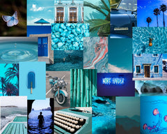 Collage Kit Blue- PHYSICAL PRODUCT - Wall Collage Kit - VSCO Collage Kit - Blue Aesthetic Collage Kit - Summer Collage Kit - Blue Aesthetic Ideas26 Images, vsco collage kit, cheap collage kit, tezza collage kit