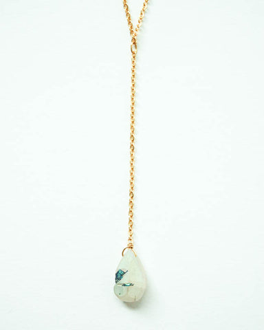 Quartz w/ Titanium Coating- Drop Necklace