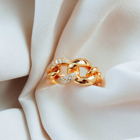 CZ Chain Gold Ring