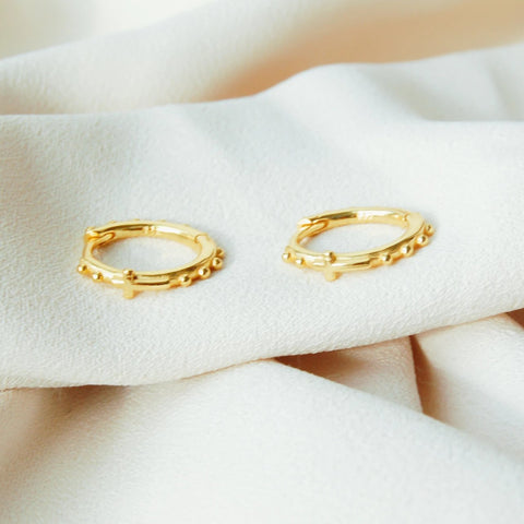 small hoop earrings gold filled with cross design