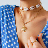 seashell cowry choker with gold beads summer necklace @automaticreplynyc
