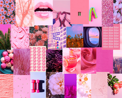 pink collage kit, pink aesthetic collage kit, pink aesthetic prints, collage kit for room, collage kit for dorm, by Automatic Reply NYC
