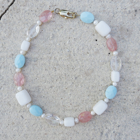 cotton candy necklace pastel colored stones pearl necklace summer stone choker