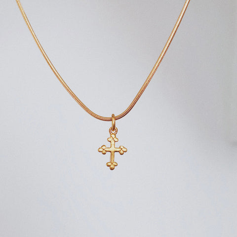 mini cross charm necklace vermeil 14k gold