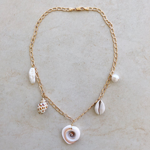 dangling charm necklace seashell cowry cowrie freshwater pearls