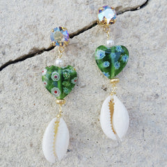 dangling glass earring with swarovski crystals @automaticreplynyc