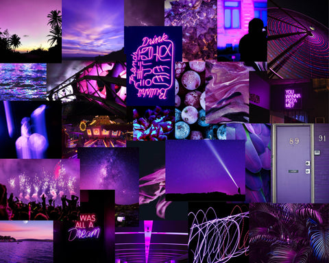 shop purple collage kit, vsco purple collage kit, purple aesthetic collage kit, prints for dorm collage, cheap collage for dormroom, euphoria inspired bedroom decor