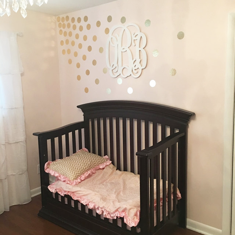 Chrome Gold Polka Dot Pattern in Nursery
