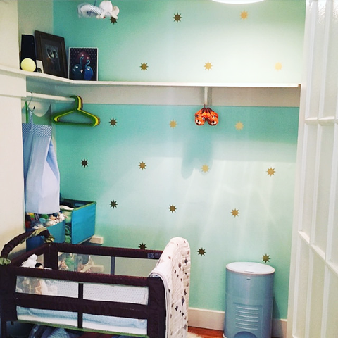Gold Stars by Dana Decals in Baby Nursery with Mint Wall