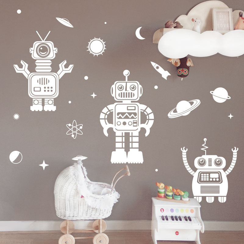 Friendly 1 Color Space Robot Collection - Dana Decals - 1