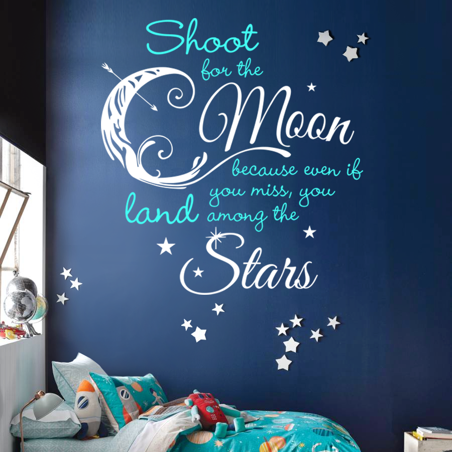 Shoot For the Moon, Land Among the Stars Quote, 2 Color - Dana Decals