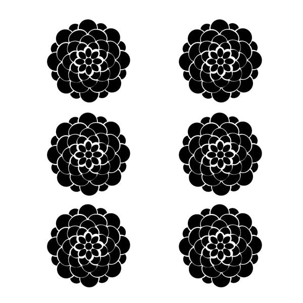 6 Geometric Flowers in Black SALE - Dana Decals