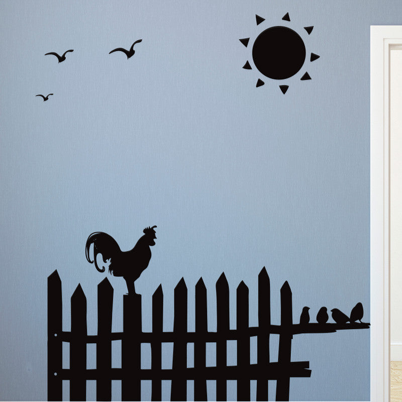 Rooster on Fence Morning Scene - Dana Decals - 1