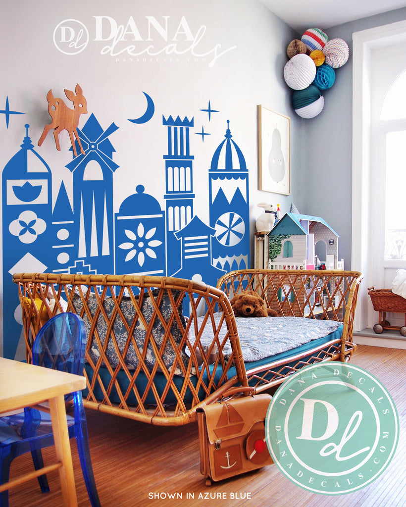 Whimsical Small Village World Wall Decal