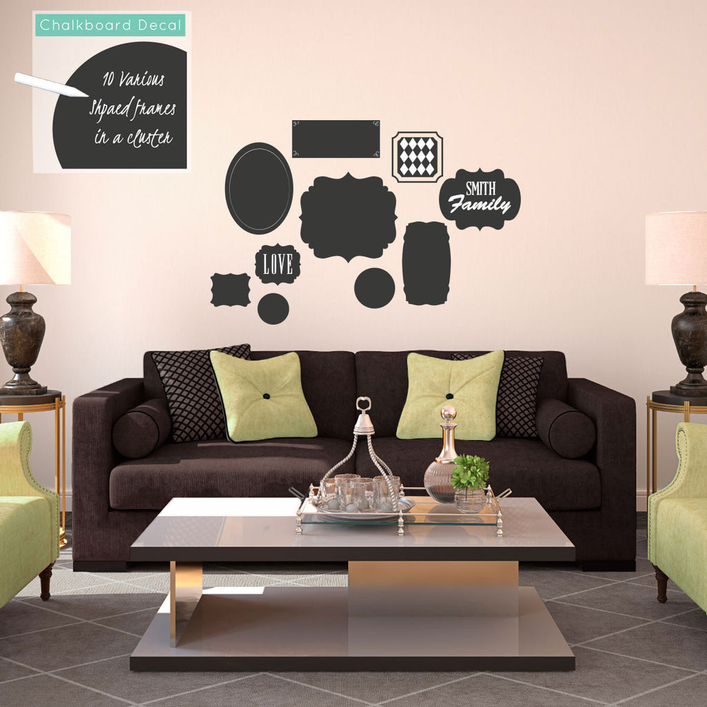 Chalkboard Cluster of Frames in Various Shapes - Dana Decals - 1