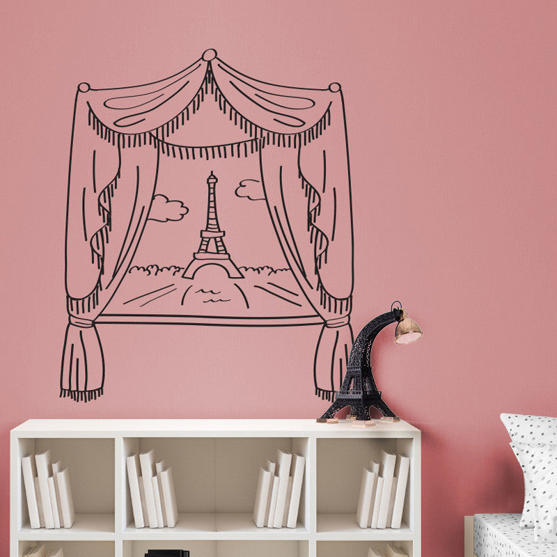 Paris Window & Eiffel Tower Scene Doodle - Dana Decals - 1
