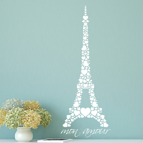 Hearts Mon Amour Eiffel Tower - Dana Decals