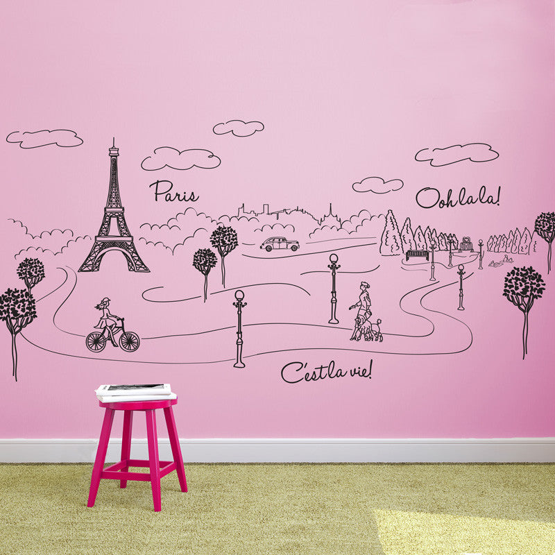 Paris Park Eiffel Tower Doodle Scene - Dana Decals - 1