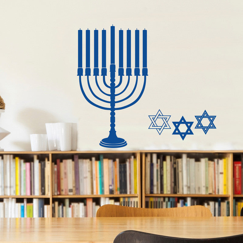 Hanukkah Menorah and Star of David - Dana Decals