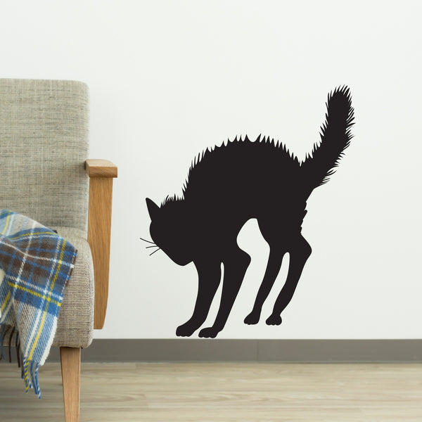 Angry Arched Scary Halloween Black Cat Silhouette Vinyl