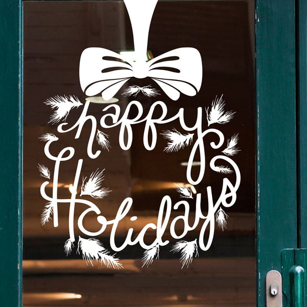 Happy Holidays Wreath Solid - Dana Decals