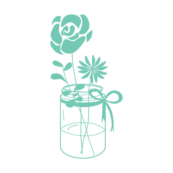 Mint Mason Jar With Flowers SALE - Dana Decals