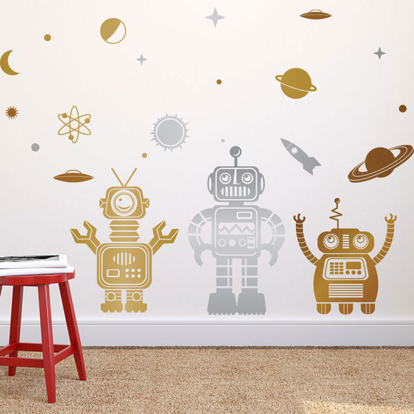 Friendly 3 Color Space Robot Collection - Dana Decals