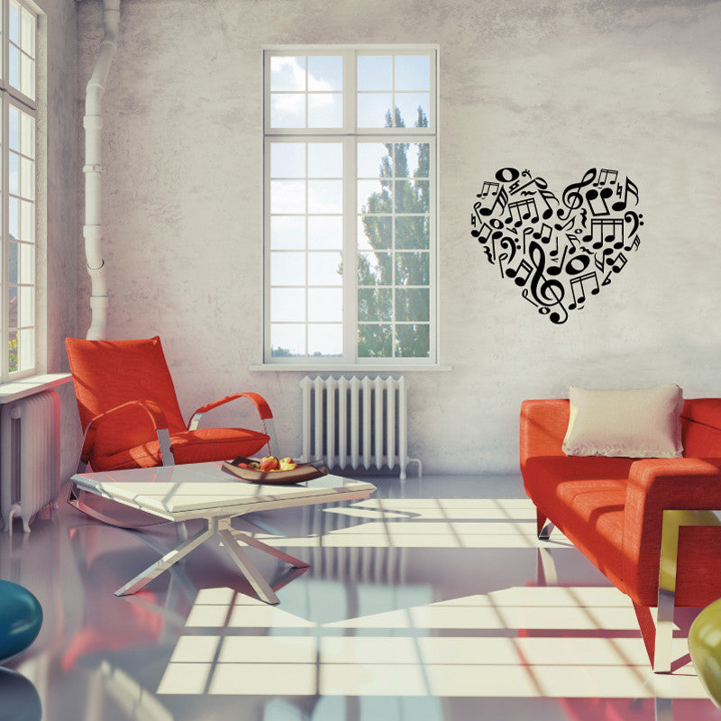 Music Notes Heart - Dana Decals - 1
