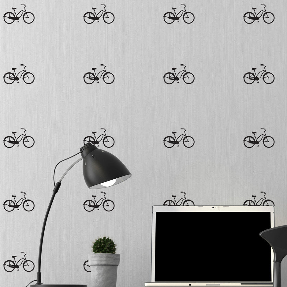 Tiny Bicycles Wall Pattern - Dana Decals - 1