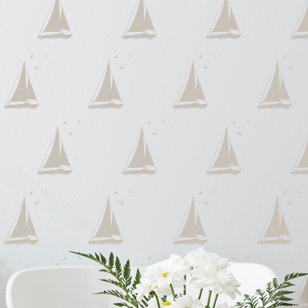 Sailboat with Seagulls Wall Pattern - Dana Decals