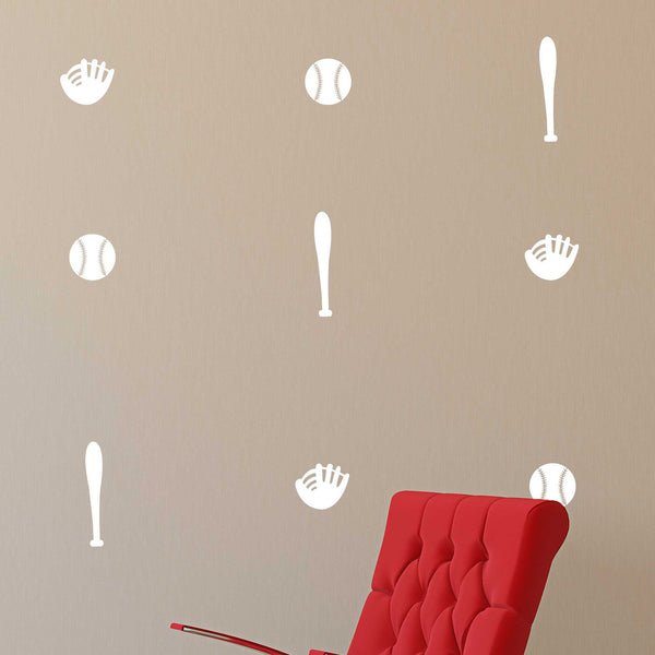 Baseball Bat Glove Icons Pattern - Dana Decals