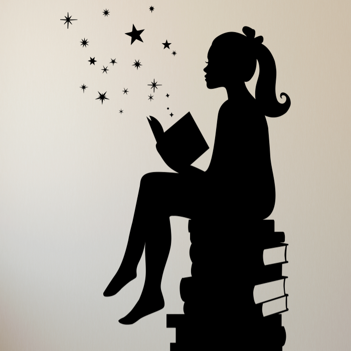 Girl Reading Books Magic Vinyl Wall Decal - Dana Decals - 1