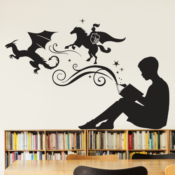 Boy Reading Magic Book Wall Decal - Dana Decals - 1