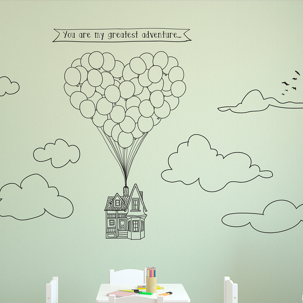 Doodled Flying Heart-Shape Balloon House - Dana Decals
