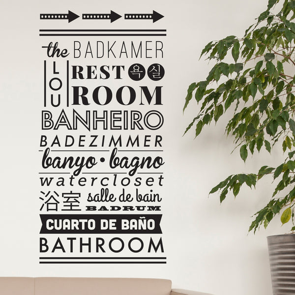 Typographic Multilingual Restroom Directions - Dana Decals - 1