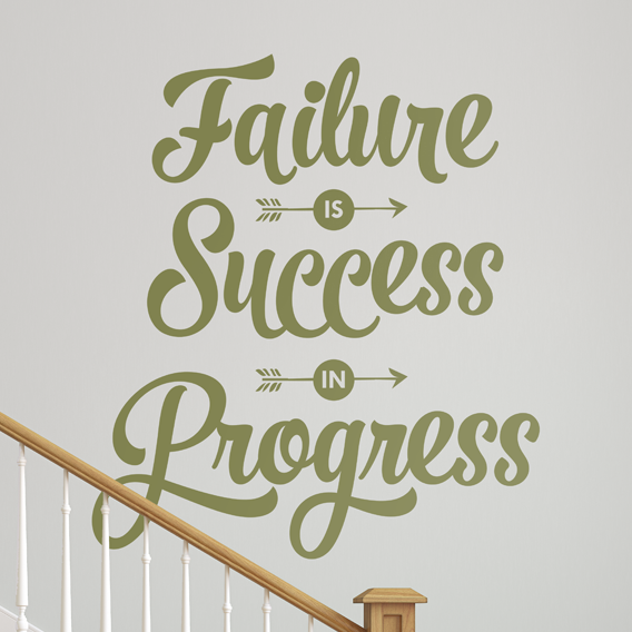 Failure is Success in Progress Quote - Dana Decals - 1