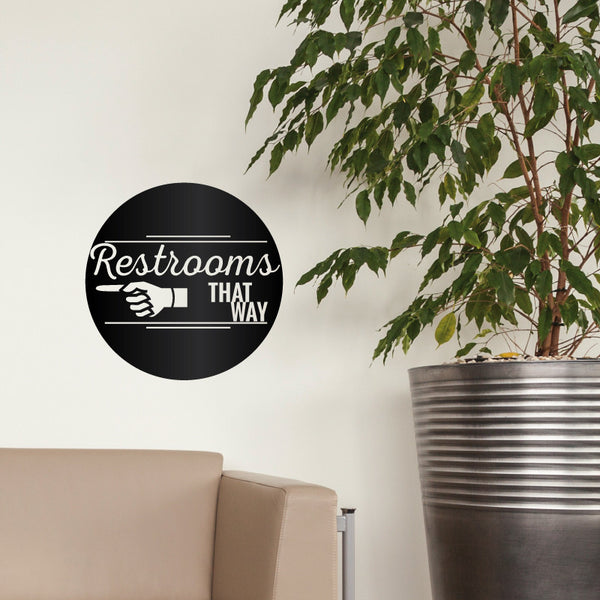 Pointing Restroom Direction Sign - Dana Decals - 1