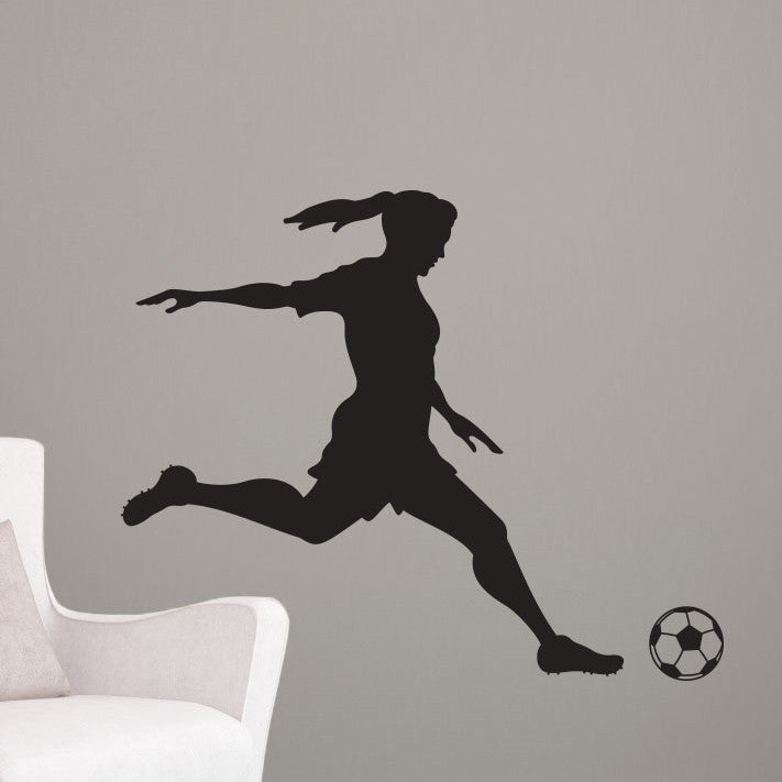 Girl Soccer Player Kicking - Dana Decals - 1