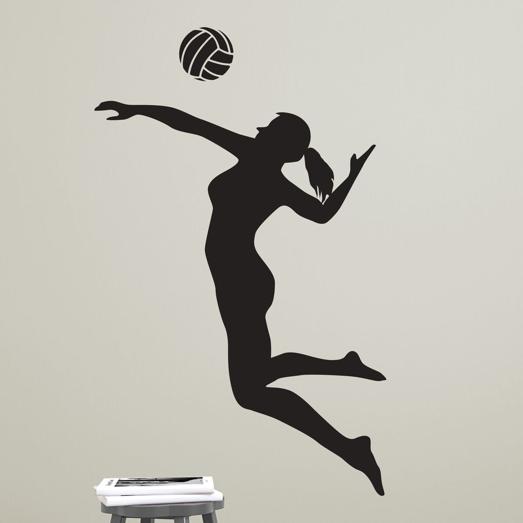 Volleyball Player Spiking Silhouette Sports Vinyl Wall