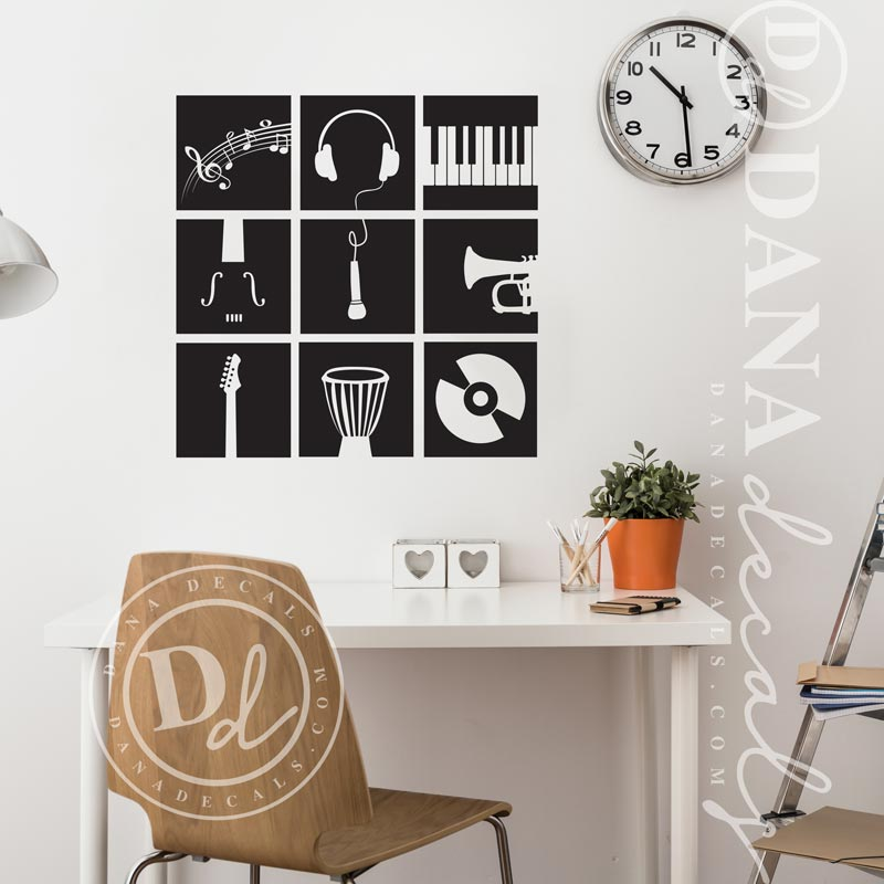 Music Instruments Stencil - Dana Decals